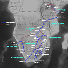 Map of train routes in Zimbabwe & Southern Africa