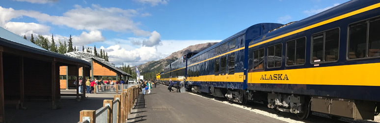 The Anchorage-Fairbanks train at Denali station