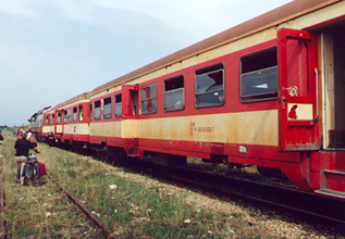 Train travel in Albania:  ex-Austrian railways coaches