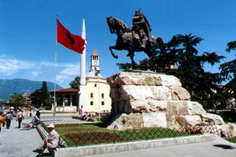 Statue of Sk�nderbeg, Tiran�, Albania.  Easy to reach by train!