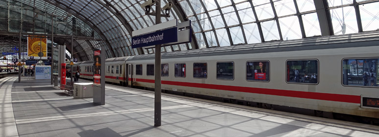 The Amsterdam to Berlin InterCity train arrived at Berlin Hbf