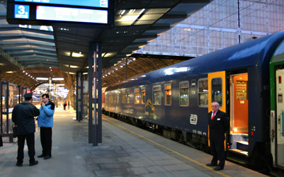 The City Night Line sleeper train 'Phoenix' from Prague to Amsterdam, at Prague Hlavni station