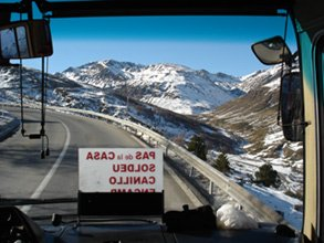 The bus to Andorra climbs into the mountains...