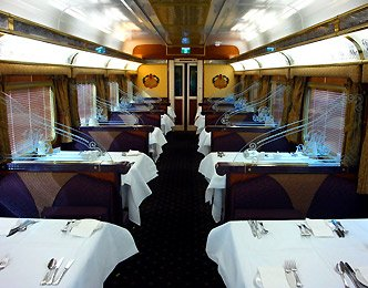 Gold Service on the Indian Pacific & The Ghan trains:  The Queen Adelaide Restaurant