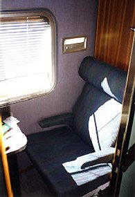 Gold Service on the Indian Pacific & The Ghan trains:  Roomette in day mode