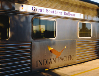 The Indian Pacific train name board