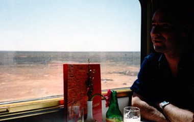 Yours truly at lunch on the Indian Pacific train as it crosses the Nullarbor Plain