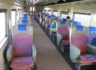Refurbished Red Premium seats on the 'Overland' Melbourne to Adelaide train.