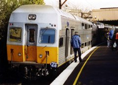 A double-deck train from Sydney arrives in Katoomba