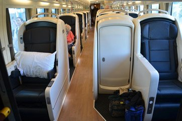 Flat bed seats on the Spirit of Queensland tilt train