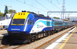 A CountryLink Xplorer train about to leave Sydney for Canberra