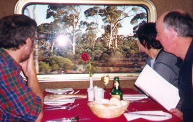 Koala spotting from the Indian Pacific's restaurant car