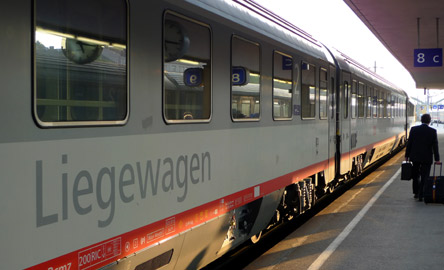The EuroNight train to Cologne about to leave Vienna Westbahnhof