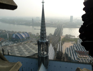View from the top of Cologne cathedral tower.