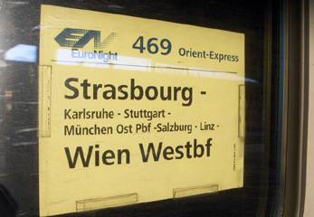 Destination board on the door of the Orient Express from Strasbourg to Vienna