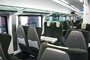 Economy class seats on the Munich-Budapest RailJet train