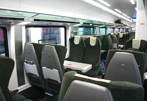 Economy class seats on the Munich-Vienna RailJet train