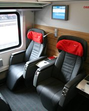 Premium class seats on the Munich-Vienna RailJet train