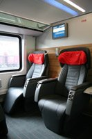 Premium class seats on the Munich-Budapest RailJet train