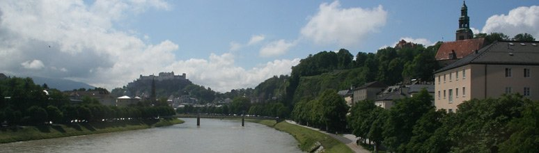 View of Salzburg as the train crosses the River Salzach