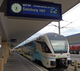 Westbahn train to Salzburg at Vienna