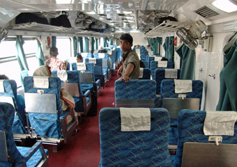 First class air-con seats on a Dhaka-Chittagong intercity train