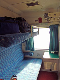 First class AC 2-berth sleeper on the Dhaka-Chittagong overnight train