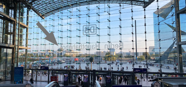 Looking out of Berlin Hbf main entrance at the Reichstag