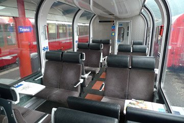 2nd class seats on the Bernina Express train