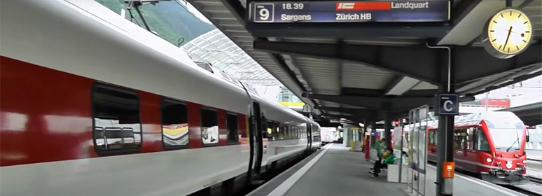 The Bernina Express arrives in Chur to connect for Zurich