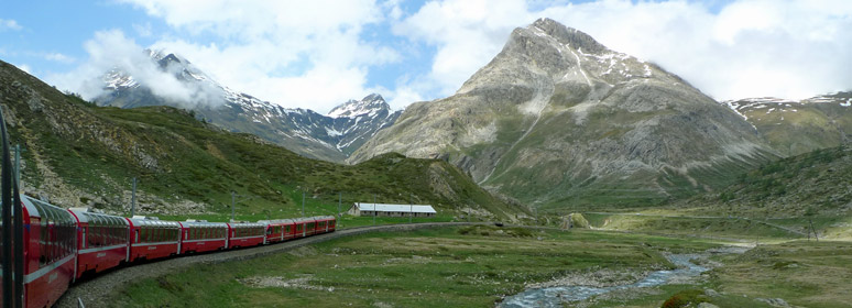The train descends from the Bernina Pass