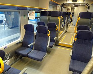 Seats on the Trenord train from Milan to Tirano