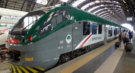Modern Trenord train from Milan to Tirano