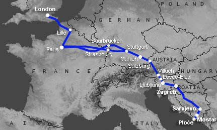 Route map:  London to Sarajevo & Mostar by train