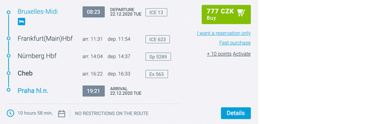 Brussels to Prague for €21 booking