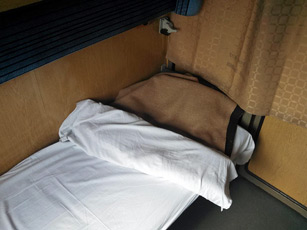 Couchette compartment on Budapest-Sofia train