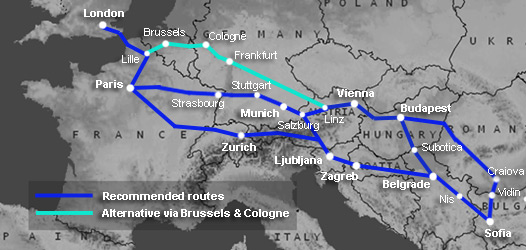 Route map:  London to Sofia & Bulgaria by train