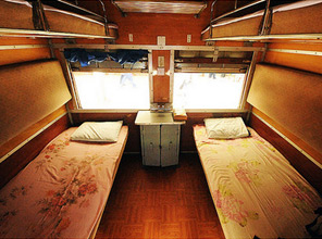 4-berth Upper Class sleeper on the Rangoon to Bagan train