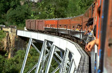 A Mandalay - Lashio train on the famous Gokteik viaduct in Shan state, Myanmar.