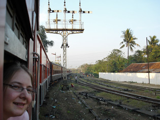 Passing Bago on the special sleeper from Rangoon (Yangon) to Mandalay...