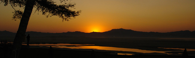 Sunset over the Irrawaddy from the Bagan Thande Hotel
