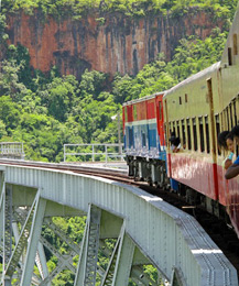 A Burmese train on the Gokteik Viaduct