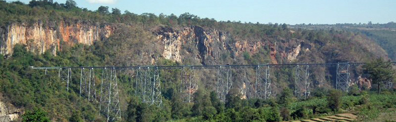 View of Gokteik Viaduct, taken from northbound train