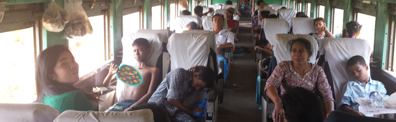 Upper class seats on the train to Moulmein