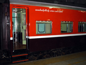 Sleeping car on train 5, Rangoon to Mandalay