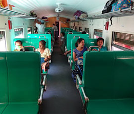 Upper class seats on night train from Pyay to Yangon