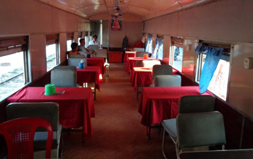 Restaurant car on the Yangon to Bagan train