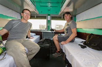 4-berth sleeper on a Mandalay to Rangoon overnight train