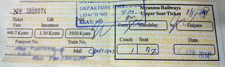 A Burmese train ticket from Yangon to Mandalay