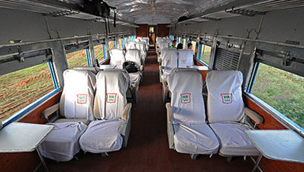 Upper class seats on train 5 from Rangoon (Yangon) to Mandalay